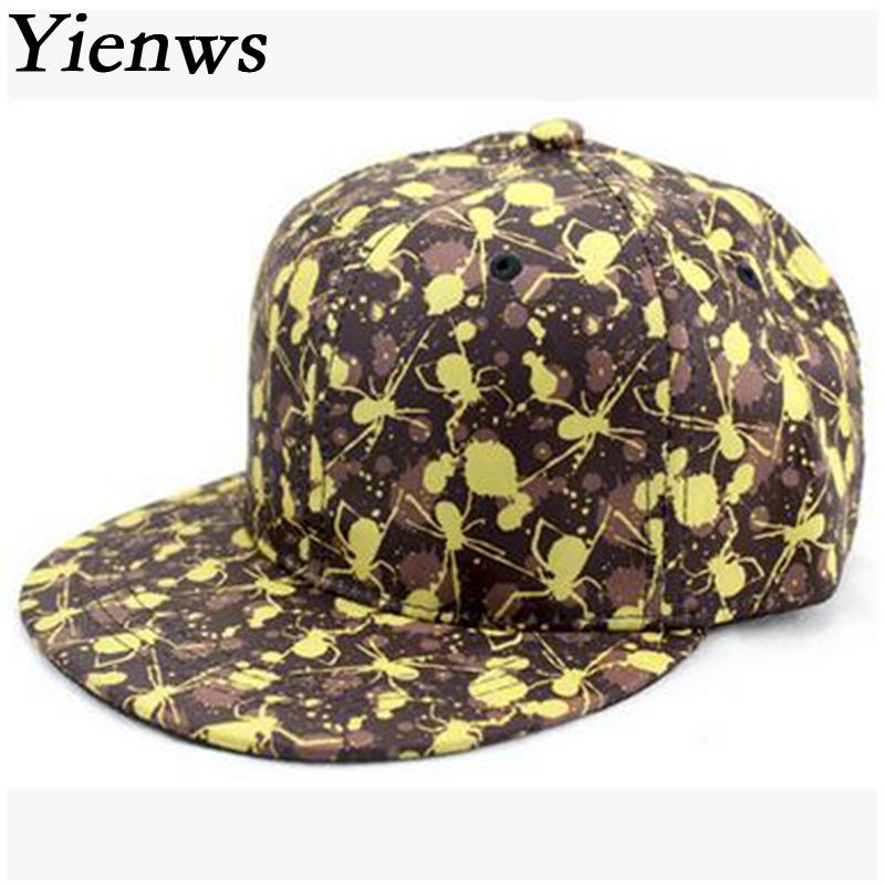 Yienws Men Baseball Cap Woman Snapback Caps Bone Hat Print Spider Korean Pop Summer Cap Solar Panels YH195(China (Mainland))