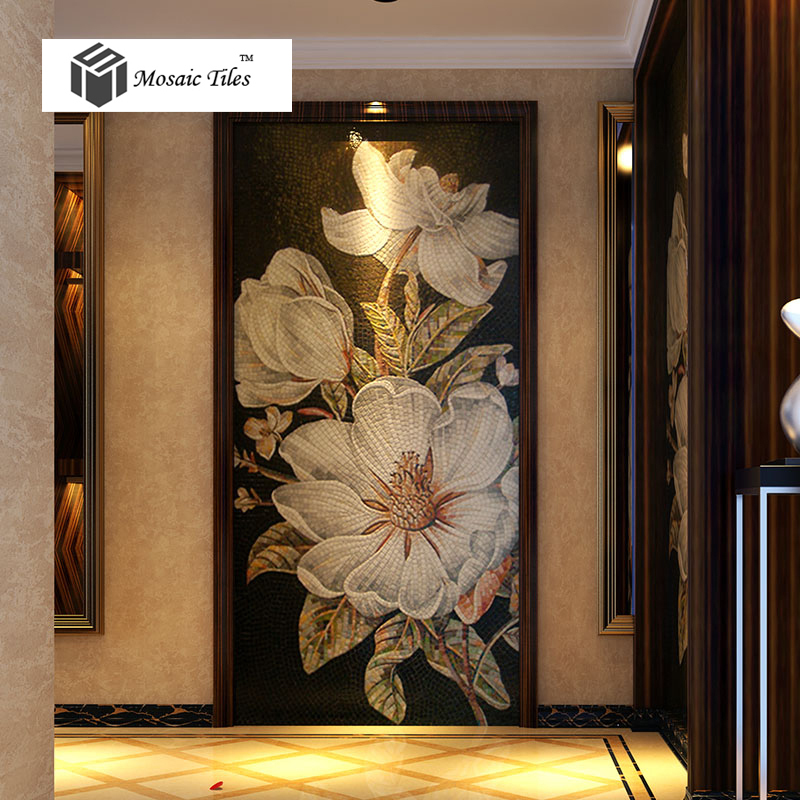 Floral mosaic bisazza hand made backsplash wall entrance for Bisazza carrelage