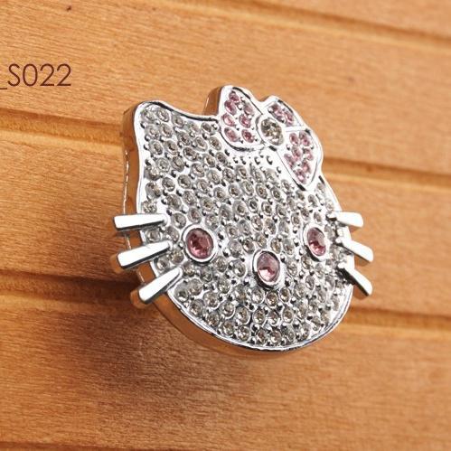 Free Shipping Hello Kitty cabinet Knobs crystal single Hole girl bedroom cupborad knob(China (Mainland))