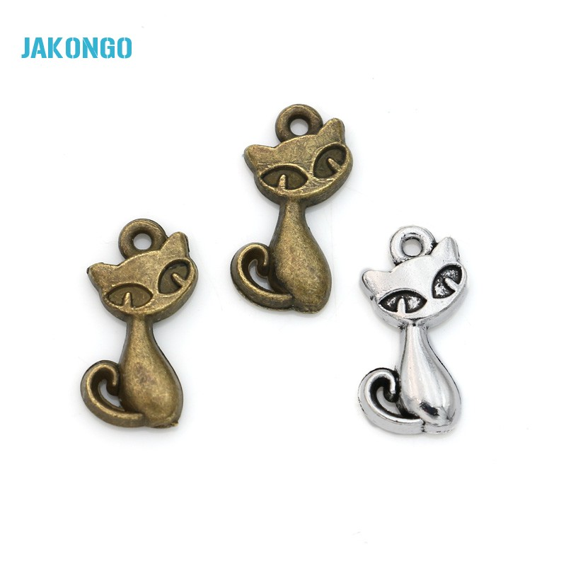 30pcs Antique Silver Plated Animals Cats Charms Pendants for Jewelry Making Jewelry Findings DIY Handmade 17x8mm