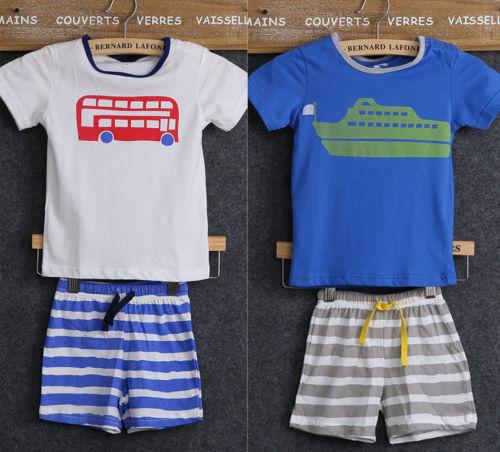 Baby Boy Kid Shirt Tops Car Ship T-shirt Tops Stripes Short Pants Outfits Shorts(China (Mainland))