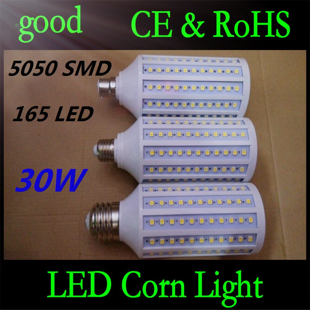5pcs E27 B22 E40 30W 5050 SMD 165 LED Chip Corn Light AC110V/220V Warm/White Bulb Maize Lamp Home Indoor Outdoor street lighting(China (Mainland))