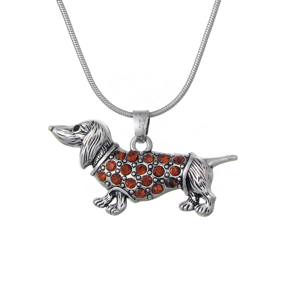 Drop Shipping Dachshund Weenie Pet Dog Breed Brown Crystal Pendant Silver Chain Necklace Jewelry(China (Mainland))