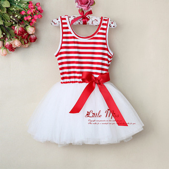 2015 New Fashion Baby Girls TuTu Dress Hot Sell Stripe With Bow Girls Summer Dresses Kids Clothes 5pcs/lot GD30110-08^^LM