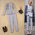 European and American women s new autumn and winter fashion simple woolen gray tops 9 pants