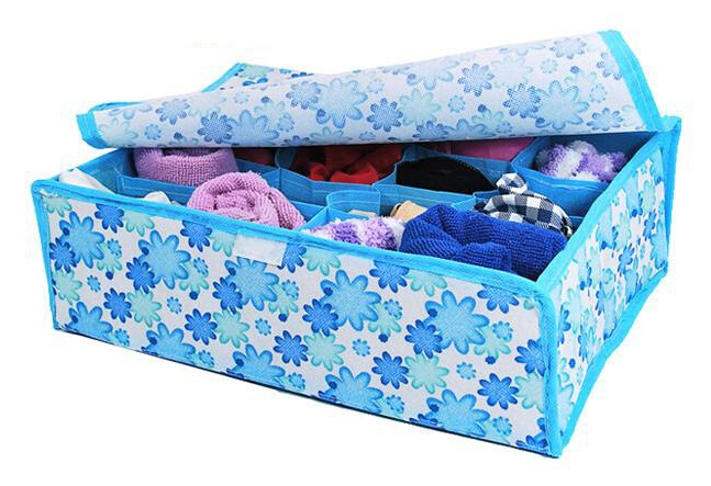 New 2015 16 Cells Underwear Socks Ties Closet Divider Organizer Container Storage Box(China (Mainland))