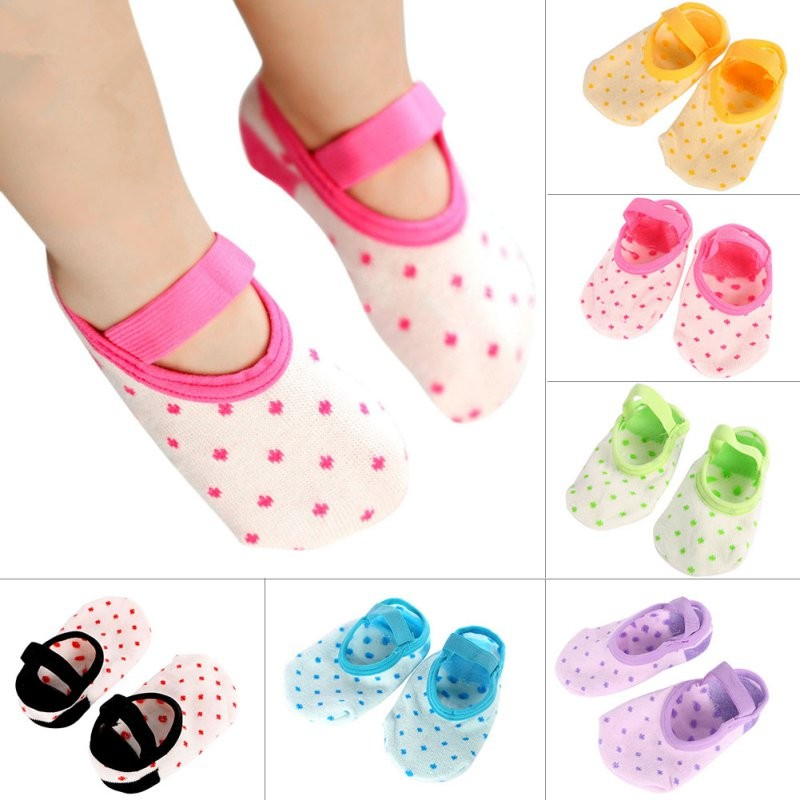 Summer Anti Slip Floor Socks for newborn baby boy/girl cotton dot booties rainbow color Unisex kids toddlers Shoes Socks(China (Mainland))