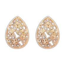 2016 Seconds Kill Real Women Crystal Zinc Alloy Trendy Plant Earings Earing Brincos Bohemian Hollow Flower Stud Earrings Fashion
