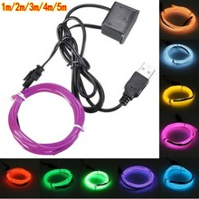 Buy 5V 1m/3m/5M USB EL wire flexible Glow EL tape tube Strip LED Lights Shoes Clothing Car waterproof led strip for $2.63 in AliExpress store