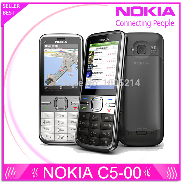 Refurbished C5-00 Original Phone Unlocked Nokia C5 cell phones GSM 3G 5.0mp Camera FM GPS Bluetooth Free shipping(China (Mainland))