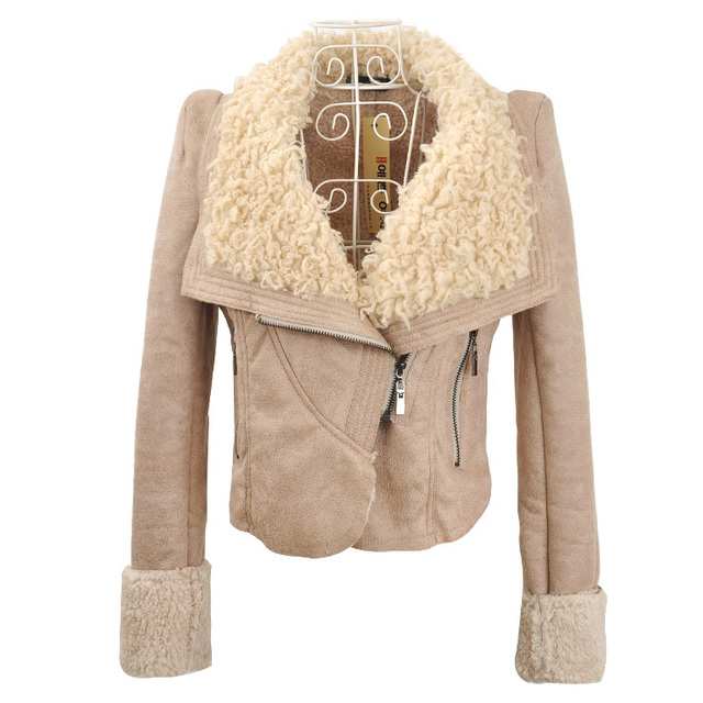 2012 women winter clothes leather short design turn-down collar lamb fur collar short jacket coat , free shipping