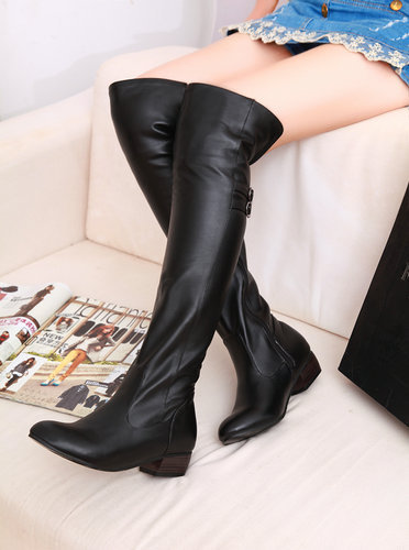 Large Size Over the Knee Women Spring and Autumn New Arrives Fashion Ladies Low Shoes PU Slip On boots W1HHSS1-6
