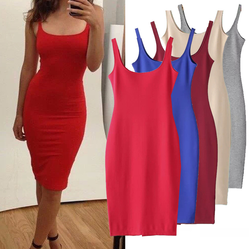 2016 summer Sleeveless Straps dresses women Candy color girls tank dress Sexy wrap hip party vestido de festa XS/S/M/L CH521(China (Mainland))