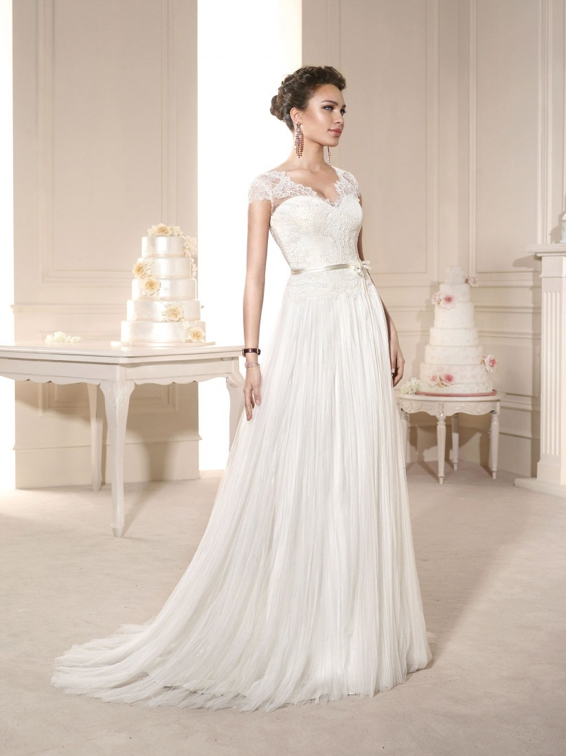 Charming A Line V Neck Long Tulle White Ivory Wedding Dress Bridal Gown 2015 Cap Sleeve