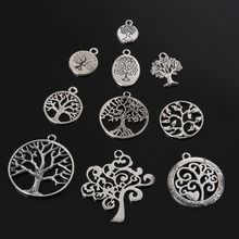 Vintage 61pcs random Mixed antique Silver Plated tree Charms Pendant Jewelry findings for DIY Handmade fashion Jewellery(China (Mainland))