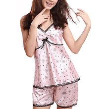 2016 Womens Silk+Lace V-neck Braces Sleepwear Set Sleepwear Pajamas Shirts+Pants Retail/Wholesale  5AVC 7EVR