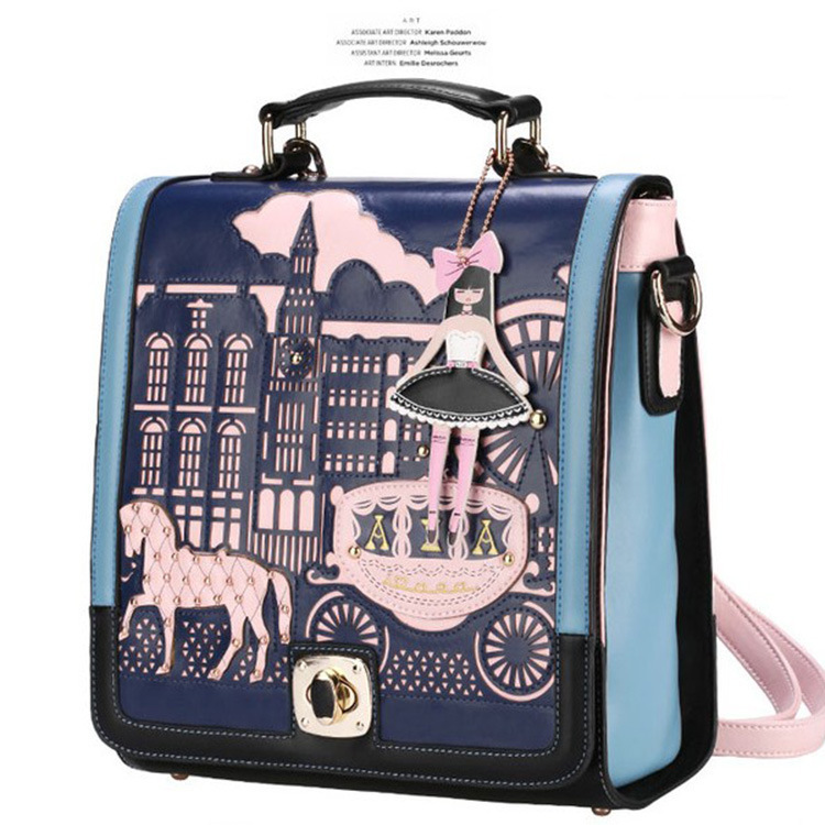 Factory outlets hollow prince and princess cartoon cute shoulder bag tide bag diagonal double back three wholesale(China (Mainland))