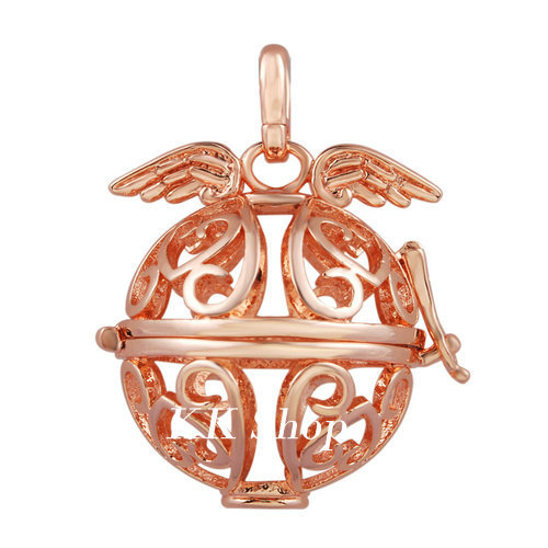 H68 Locket Cage fit 20mm ball Rose gold Little Angel Wing Pendant Fashion Womens Jewelry(China (Mainland))