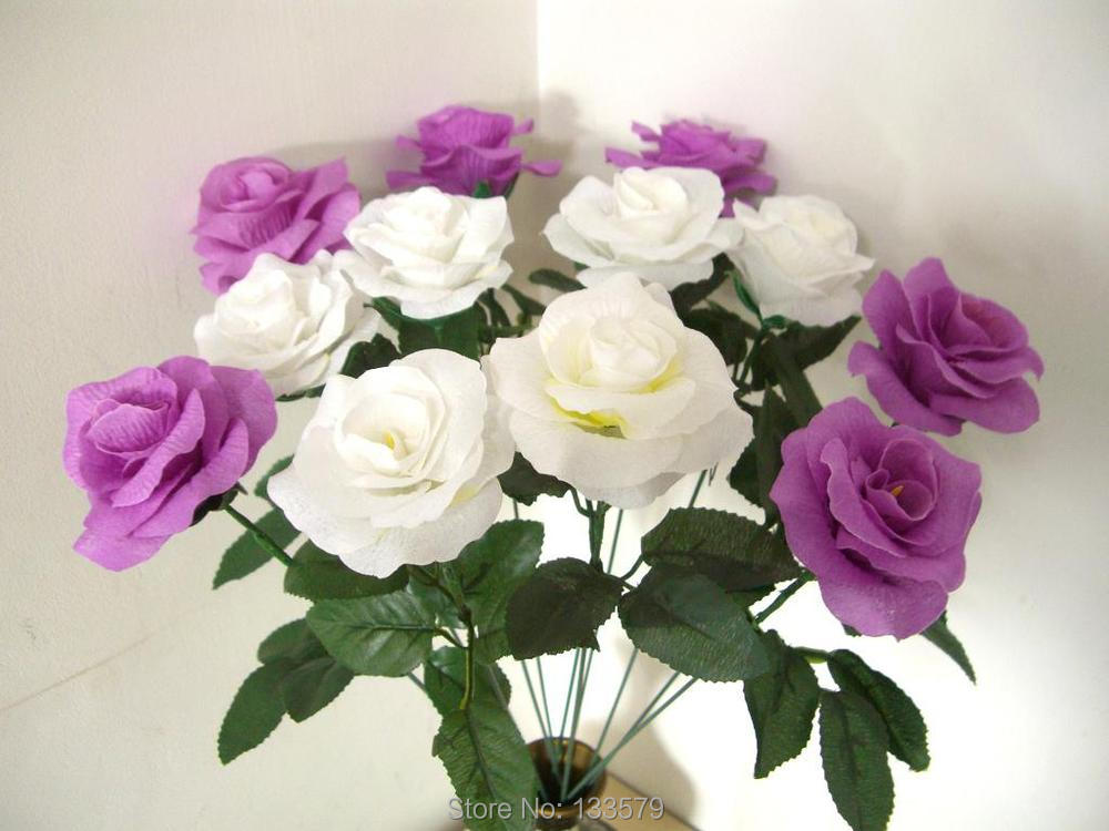 14 Pieces Ivory Cream White Silk Flower Rose 15.7'' Stems Artificial Fabric Bouquet Wedding Reception Table Cake decor - Frame Arte store