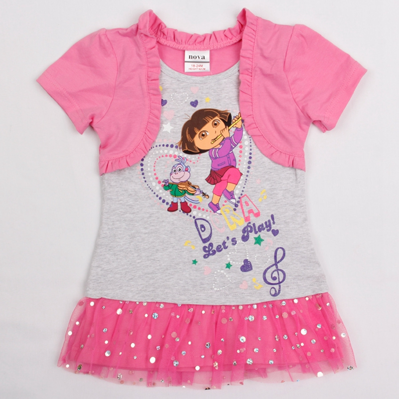 Retail Dora Girl Dress Nova Kid Clothing Children's NOVA Fashion Summer Dress For Girls Toddler Princess Dress Baby Girl H4661(China (Mainland))