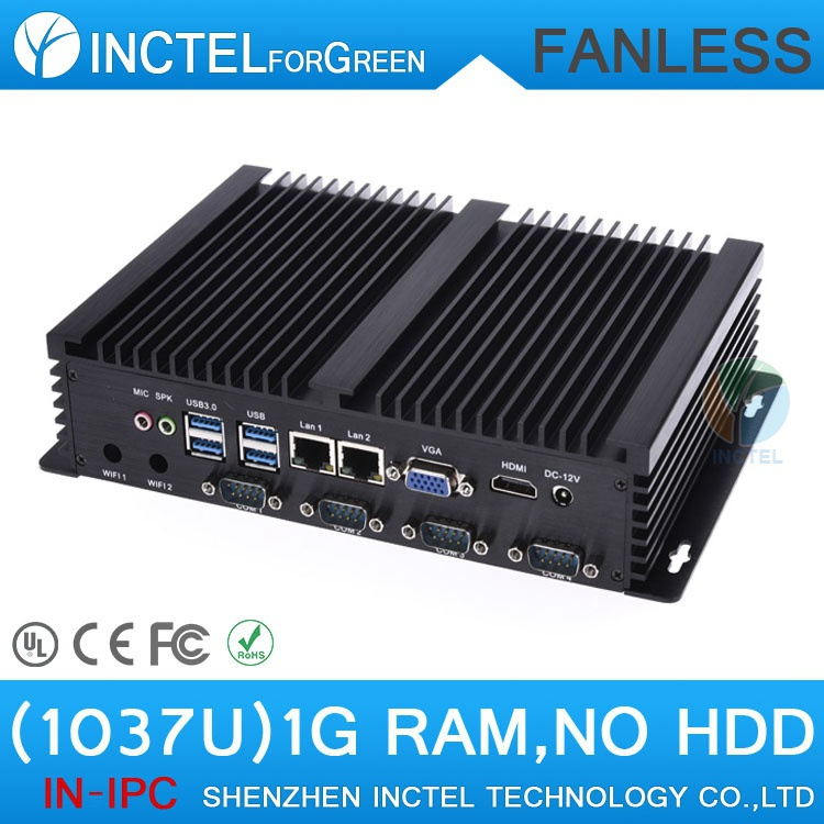Cheapest IPC Industrial embeded fanless barebone computer with Intel Celeron C1037U 1.8Ghz USB 3.0 Dual Gigabit Lan 4 COM HDMI(China (Mainland))