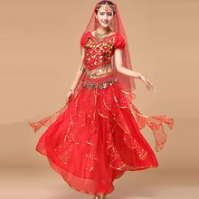 2016 de Bollywood Trajes de Dança 5 pcs (Top + Saia + Cintura Cadeia + Véu + Headwear) Dança Do Ventre Vestidos de Saia Dança Do Ventre traje Indiano