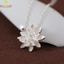 Buy 925 Sterling Silver Lotus Necklaces & Pendants Women Elegant Flower Short Necklace Sterling Silver Jewelry Bijoux Femme for $6.06 in AliExpress store