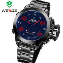 Nuevo WEIDE militar Sports Diver reloj de acero completo reloj de pulsera de cuarzo alarma fecha día Anaglog y Digital LED Dual Time