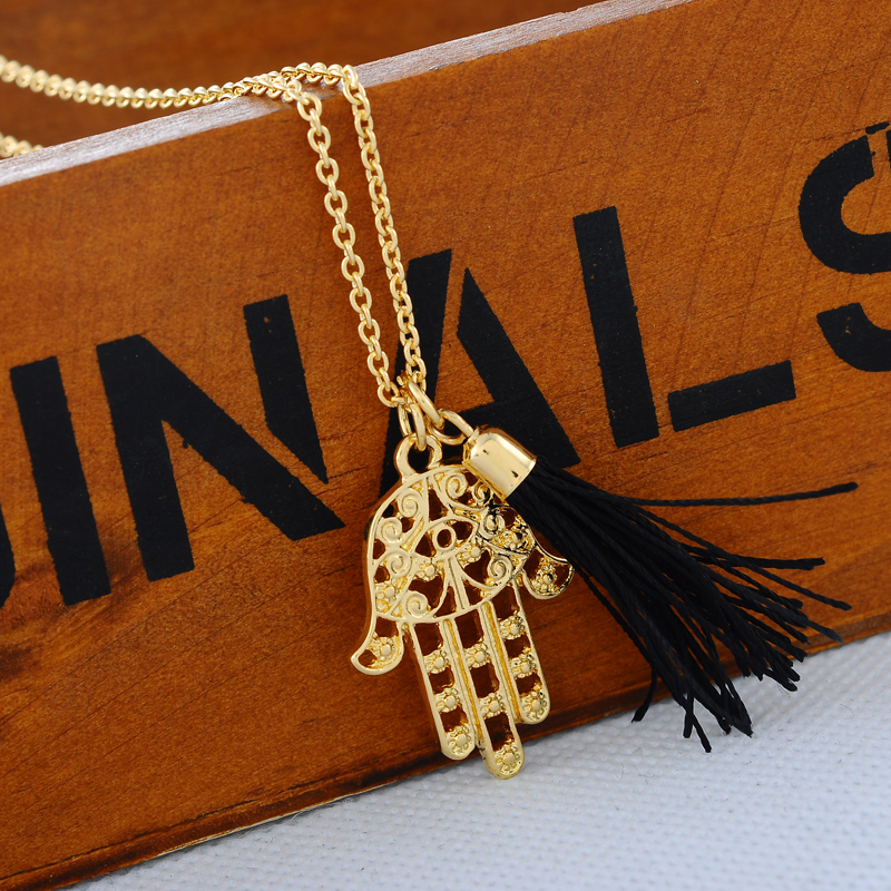 1PC Gold Plated Retro Fatima Hamsa Hand Choker Charm Pendant Necklace Fashion Jewelry(China (Mainland))