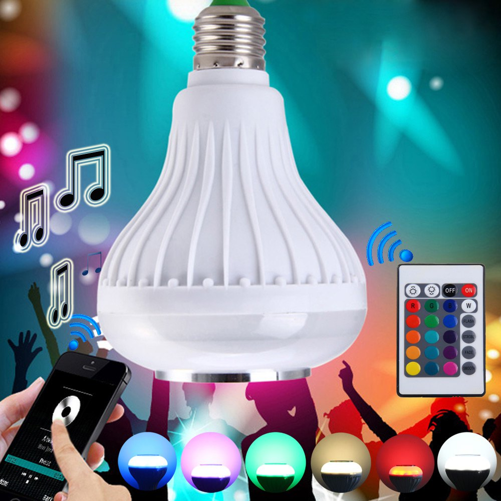 Intelligent E27 Light Bulb Colorful LED Lamp Bluetooth 3.0 Speaker for Home Stage Energy Saving LED Light Bulbs 1433895(China (Mainland))