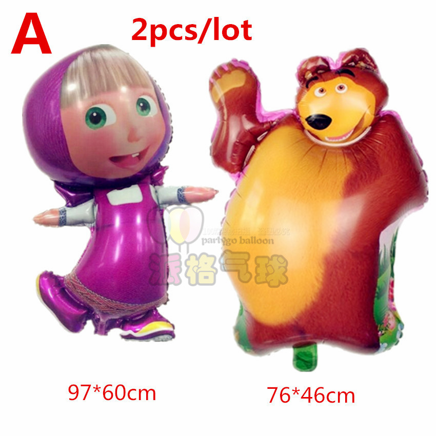 Mixed ! largest 97*60cm &small 47*77cm shaped Masha Balloons Decoration Classic Inflatable Toys Martha bear Ballons For Children(China (Mainland))