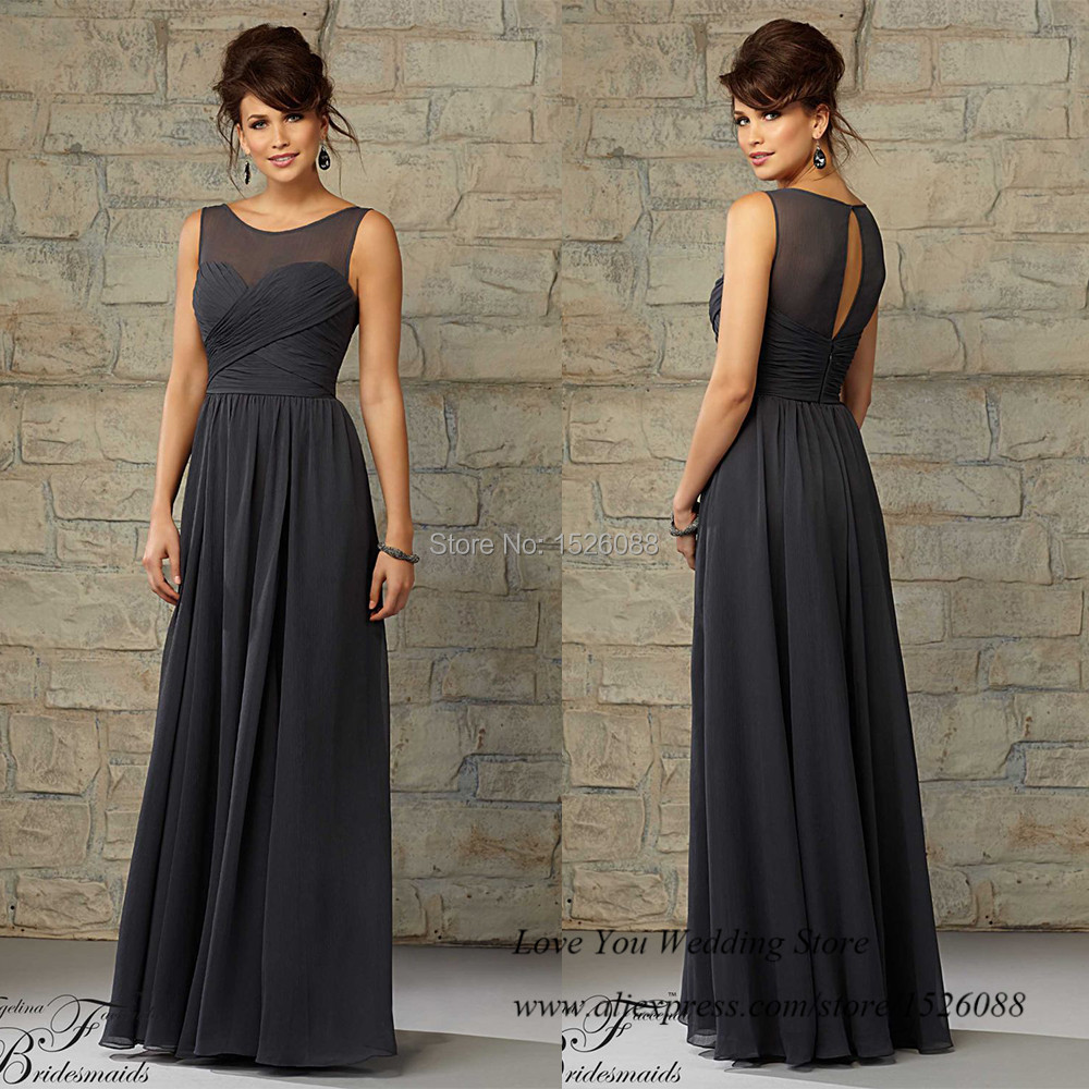 Vestido de madrinha de casamento longo grey long for Grey dress wedding guest