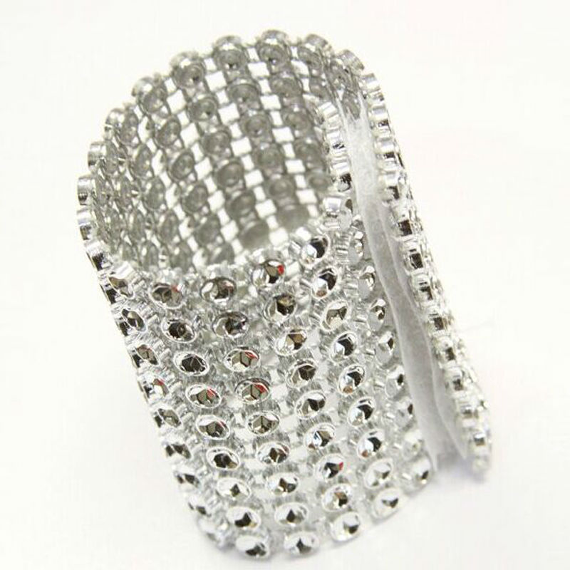 free shippipng 10pcs Silver 8Row Diamond Rhinestone Bow Covers Velcro Wedding Napkin Rings DIY Decorations Table