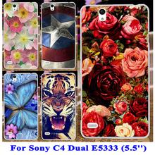 Soft TPU Hard Plastic Phone Cover Cases Sony Xperia C4 Dual Cosmos E5333 E5306 E5303 E5353 E5343 E5363 Case bags - Blue Mill 3C Products Online Super Market store