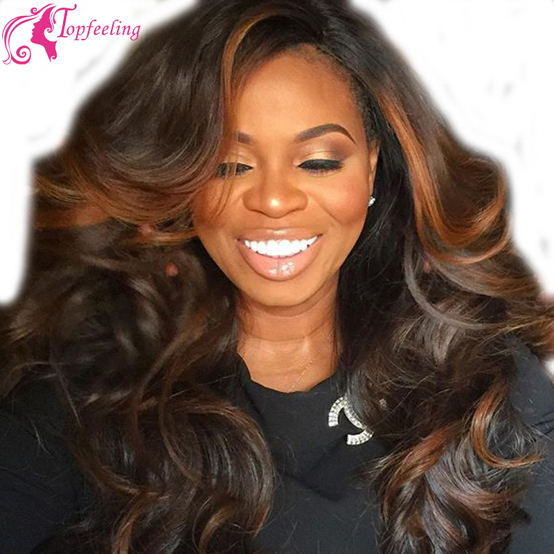 Beautiful Hair Loose Wave Ombre Full Lace Wig Highlight Color Virgin Brazilian Hair Side Part  Lace front  Wigs For Black women