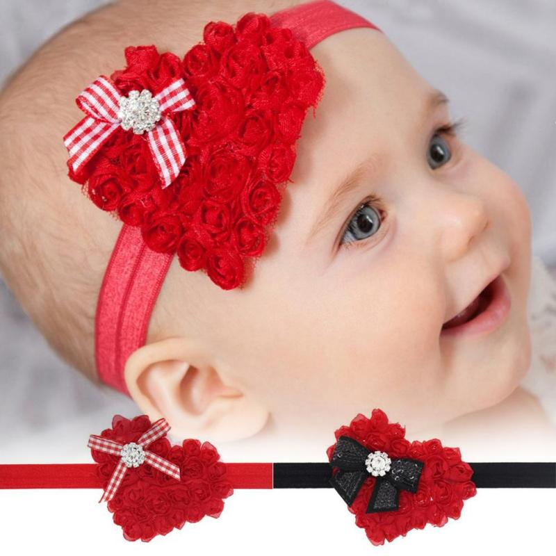 Girl Cute Red Christmas Heart Hair Bands Kids Sequin Bow Flower Pearl Headband Hair Accessories Children Photo Prop Headbands B2
