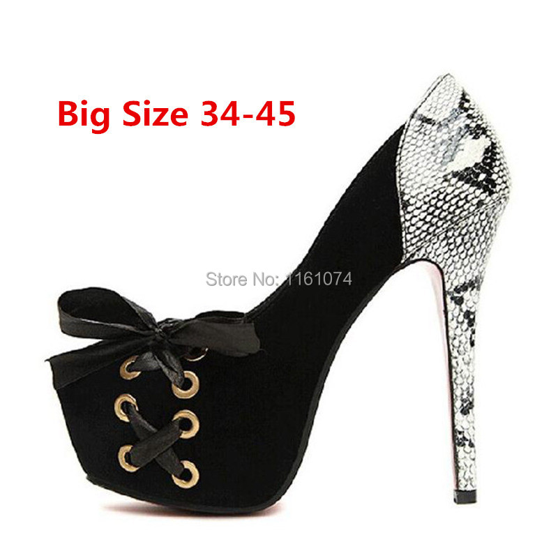 Vintage Sexy Red Bottom Round Toe High Heels 14cm Women Pumps Shoes Brand New Design 4cm Platform 4 colors Big Size 34-45 - Boer= Buy On-line store