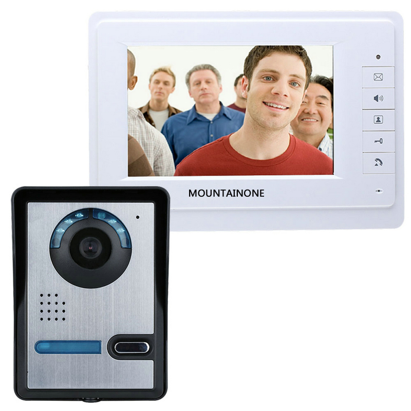 FREE SHIPPING MOUNTAINONE 7 Inch Video Door Phone Doorbell Intercom Kit 1-camera 1-monitor Night Vision(China (Mainland))