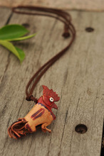 High quanlity genuine cow leather fashion jewlery 2014 cock pendant necklace NL 2193