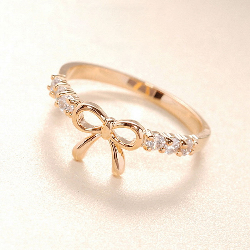 The Korean Jewelry Simple Crystal Bow Ring Gold&Silver For drop shipping Wholesale(China (Mainland))