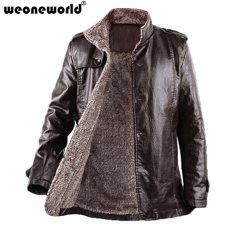 WEONEWORLD 2016 Fashion Leather Jacket For Men Stand Collar Solid Men Outerwear PU Leather Men Clothing Plus Size M-XXXL(China (Mainland))