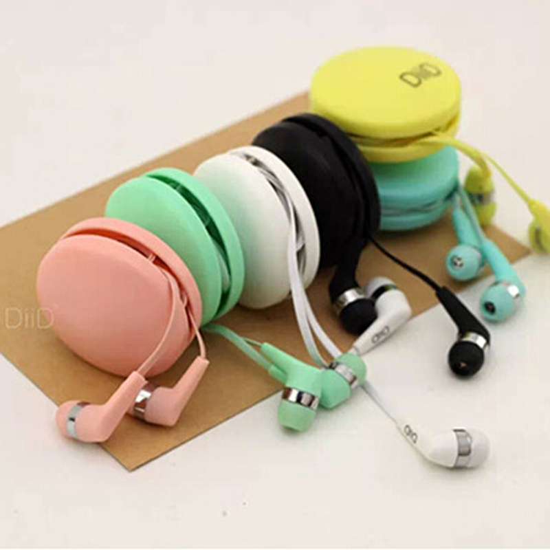 3.5mm Jack Earphone with Coiling box cute headphones in ear earphones auricular with micrphone for Mobile phone mp3 players(China (Mainland))