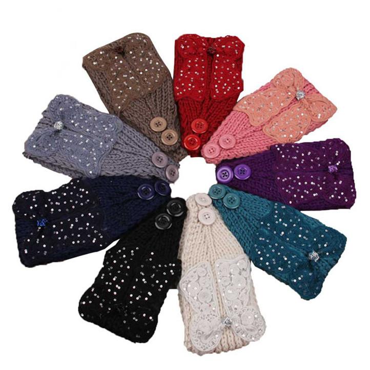 Newly Design Hot!Women Crochet Headband Bow Knit Winter Headwrap Ear Warmer Sequins Hairband May11(China (Mainland))