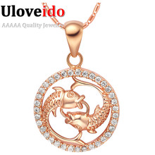12 Constellations Scorpio Necklaces Pendant Rose Gold Jewellery Suspension Women and Men Scorpion Promotion Sale Ulove N1047(China (Mainland))