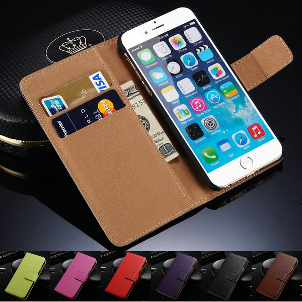 "Genuine Leather Wallet With Stand Case For iPhone 6 6G 4.7"" Phone Bag for iPhone 6 Plus 5.5"" 2 Styles Card Holder Brand New 2015(China (Mainland))"