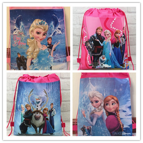 Гаджет  2015  elsa and anna minion backpack gmy school non-woven string shoe bag for boys and girls birthday giftsall match None Камера и Сумки