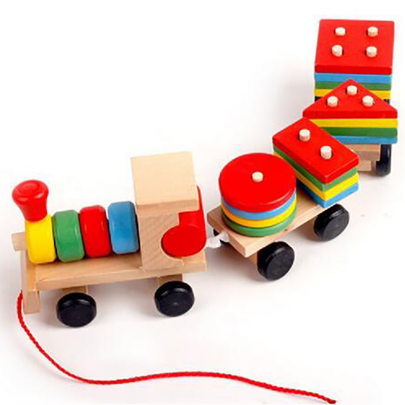 Toys For Early Childhood : Montessori baby toys for children drag the blocks of