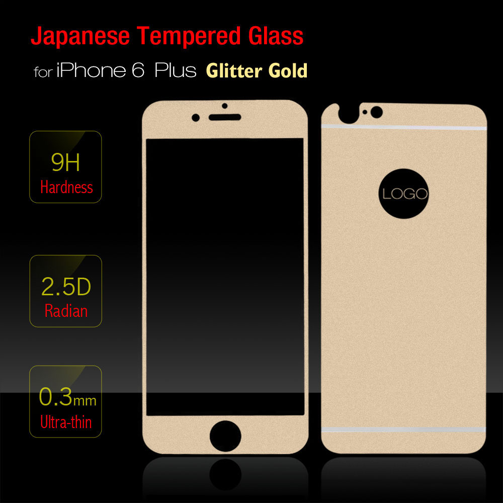 Glitter Gold (Front+Back) Japan's Tempered Glass Screen Protector iPhone 6 plus 5.5 inch Explosion-proof Protective Film - Beauty & Health store