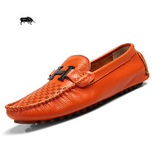 High quality men leather shoes soft comfortable men flats shoes Brand design men loafers Moccasins driving shoes for men