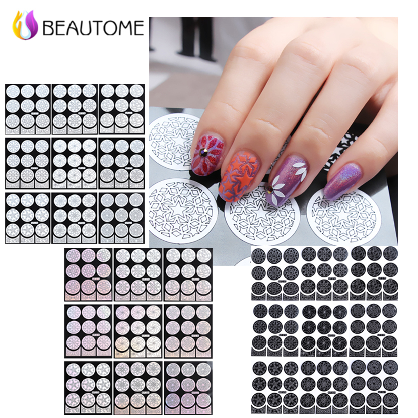 1 Sheet Reusable Hollow Classic Flower Pattern Nail Art Stamping Template Stencil Silver Vinyl Polish Nail Sticker Tool(China (Mainland))